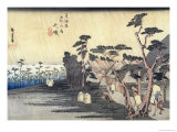 """Oiso: Toraga Ame Shower, from the Series """"53 Stations of the Tokaido Road"""", 1834-35 Giclee Print by Ando Hiroshige"""