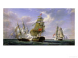 "Combat Between the French Frigate ""La Canonniere"" and the English Vessel ""The Tremendous"" Giclee Print by Pierre Julien Gilbert"