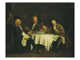 The Poet Alexis Piron at the Table with His Friends, Jean Joseph Vade and Charles Colle Giclee Print by Etienne Jeaurat