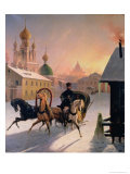 Troika on the Street in St. Petersburg, 1850s Giclee Print by Charles De Hampeln