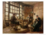 The Cobblers, 1880 Premium Giclee Print by Léon Augustin L'hermitte