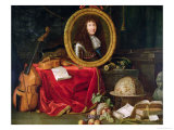Still Life with Portrait of King Louis XIV Surrounded by Musical Instruments Giclee Print by Jean Garnier