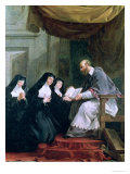 St. Francois de Sales Giving the Rule of the Visitation to St. Jeanne de Chantal Premium Giclee Print by Noel Halle