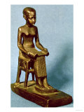 Seated Statue of Imhotep Holding an Open Papyrus Scroll, Late Period, Giclee Print