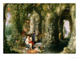 A Fantastic Cave with Odysseus and Calypso Giclee Print by Jan Brueghel the Elder