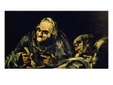 """Two Old Men Eating, One of the """"Black Paintings"""", 1819-23 Giclee Print by Francisco de Goya"""