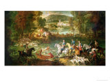Hunting at the Saint-Jean Pond in the Forest of Compiegne, Before 1734 Giclee Print by Jean-Baptiste Oudry