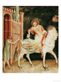St. Martin Sharing His Cloak with the Beggar, from the Life of St. Martin, 1326 Premium Giclee Print by Simone Martini