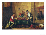 Men Playing Backgammon in a Tavern Giclee Print by David Teniers the Younger