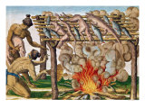 "How to Grill Animals, from ""Brevis Narratio..."", Published by Theodore de Bry, 1591 Giclee Print by Theodor de Bry"