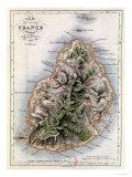 """Map of Mauritius, Illustration from """"Paul et Virginie"""" by Henri Bernardin de Saint-Pierre, 1836 Giclée-tryk af A.h. Dufour"""