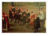Musicians in the Ommeganck in Brussels, 31st May 1615: Procession of Notre Dame de Sablon Giclée-Druck von Denys Van Alsloot
