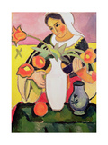 The Lute Player, 1910 Giclée-tryk af Auguste Macke