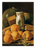 Still Life of Oranges, Watermelon, a Pot and Boxes of Cake Giclee Print by Luis Egidio Melendez