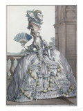 "Woman Wearing a Stylish Dress with Her Hair ""A La Victoire"", 1778 Giclee Print by Claude Louis Desrais"