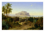 View of Palermo with Mount Pellegrino Giclee Print by August Wilhelm Julius Ahlborn