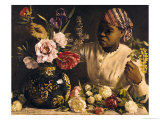 Negress with Peonies, 1870 Giclee Print by Frederic Bazille