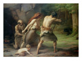 Prehistoric Man Hunting Bears, 1832 Giclee Print by Emmanuel Benner