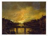 Blaze in Amsterdam Giclee Print by Aert van der Neer