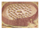 """Fortified Indian Village, from """"Brevis Narratio..."""", Published by Theodore de Bry, 1591 Giclee Print by Theodor de Bry"""