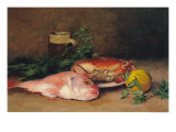 Crab and Red Mullet Giclee Print by Jules Ernest Renoux