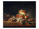 Still Life of Peaches, Nuts, Grapes and a Glass of Wine, 1758 Giclee Print by Jean-Baptiste Simeon Chardin