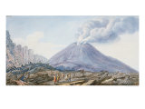 View of the Atrio Di Cavallo Between Somma and Vesuvius Giclee Print by Pietro Fabris