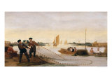 Two Fishermen Pulling in Their Nets Giclee Print by Arent Arentsz