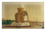View of the Elephant Fountain at the Place de La Bastille, circa 1805-1810 Giclee Print by Jean Antoine Alavoine