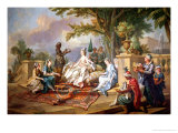 The Sultana Served by Her Eunuchs Giclee Print by Charles-amedee-philippe Van Loo