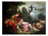 The Sleeping Shepherdess Giclee Print by Francois Boucher