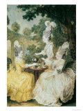 La Marquise de Montesson, La Marquise de Crest and La Comtesse de Damas Drinking Tea Giclee Print by  Carmontelle