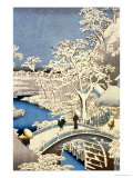 "Drum Bridge and Setting Sun Hill at Meguro, from the Series ""100 Views of Edo"" Giclee Print by Ando Hiroshige"