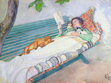 Woman Lying on a Bench, 1913 Reproduction proc&#233;d&#233; gicl&#233;e par Carl Larsson
