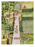 """The Village of Secoton, from """"Admiranda Narratio..."""", Published by Theodore de Bry Giclee Print by Theodor de Bry"""