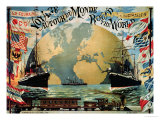 "Voyage Around the World"", Poster for the ""Compagnie Generale Transatlantique"", Late 19th Century Premium Giclee Print by A. Schindeler"