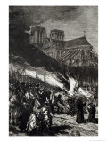 "Burning of the Templars, Illustration from ""L'Histoire de France"" by Jules Michelet Giclee Print by Daniel Urrabieta Vierge"