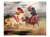Two Knights Fighting in a Landscape, circa 1824 Gicl&#233;e-Druck von Eugene Delacroix