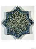 Star-Shaped Overglaze Leaf-Gilded Tile in the Style of Takht-E Solaiman, 13th-14th Century Giclee Print