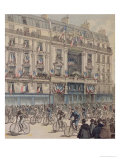 """The Start of the Paris-Brest Bicycle Race in Front of the Offices of """"Le Petit Journal"""" Premium Giclee Print by Fortuné Louis Méaulle"""