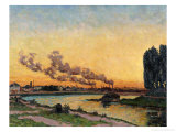 Setting Sun at Ivry, circa 1872-73 Giclee Print by Armand Guillaumin