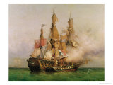 "The Taking of the ""Kent"" by Robert Surcouf in the Gulf of Bengal, 7th October 1800, 1850 Giclee Print by Louis Garneray"