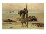 Oyster Catching, 1884 Giclee Print by Pierre Celestin Billet