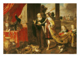 Ahasuerus Showing His Treasure to Mordecai Giclee Print by Claude Vignon