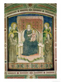 Madonna Enthroned with St. Francis of Assisi, St. Clare and Two Angels Giclee Print by Master Of Figline