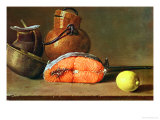 Still Life with a Piece of Salmon, a Lemon and Kitchen Utensils Giclee Print by Luis Egidio Melendez