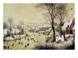 Winter Landscape with Skaters and a Bird Trap, 1565 Gicleetryck av Pieter Bruegel the Elder