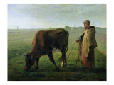 Woman Grazing Her Cow, 1858 Giclee Print by Jean-François Millet