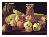 Still Life with Pomegranates, Apples, a Pot of Jam and a Stone Pot Giclee Print by Luis Egidio Melendez