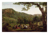Haymakers Picnicking in a Field Giclee Print by Jean Louis De Marne